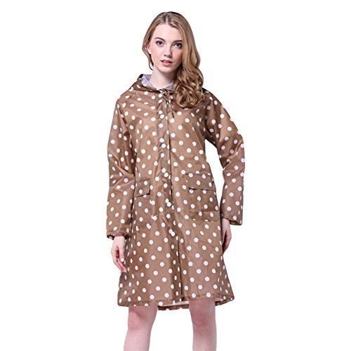 LOSORN ZPY Damen Regenmantel Raincoat mit Kapuze Mädchen Tupfen Wasserdicht Punkten Regenjacke (M, Khaki)