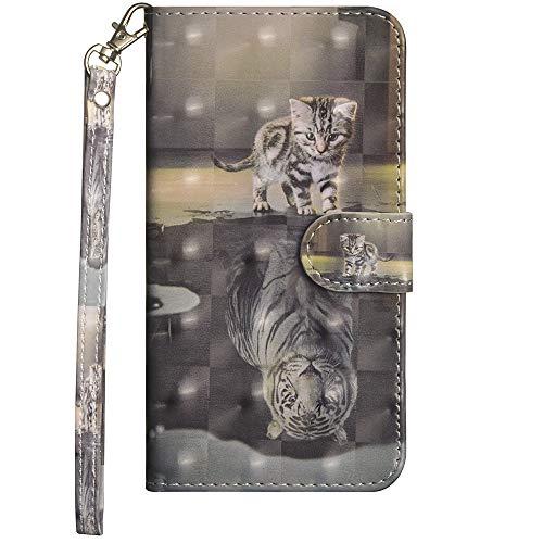 Handytasche für Huawei Mate 10 lite Handyhülle Schutzhülle Ledertasche Bookstyle Klapphülle 3D Muster Flip Hülle Ständer Wallet Hülle mit Motiv Tiermuster Brieftasche Kartensteckplätzen Katze & Tiger