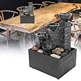 Pbzydu Desktop Fountain,Desktop USB Water Fountain Ornament Crafts Resin Landscape for Indoor Home Office Table Decoration Bedroom Relaxation
