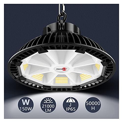 LED Hallenstrahler 150W, Öuesen Hallenbeleuchtung LED UFO Industrielampe 21000LM LED Strahler Industrieleuchte 5500K Kaltweiß LED Werkstattlampe IP65 Wasserdichte für Werkstätten Industrie und Garage