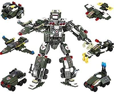 Robot Blocks Toy Creative Set, 6 in 1 Transforming STEM Learning Toy, Construction Building Toys for Boys Ages 6-12 Years Old , Best Construction Easter Egg Toy Gift Idea for Kids (461 Pieces)
