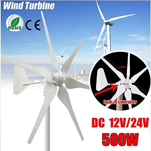 TQ 2020 DC Wind Turbines Generator, 6 Blades 12V / 24V 500W Miniatur-Windkraftanlagen Wohnhaus mit Controller für den Heimgebrauch,24v