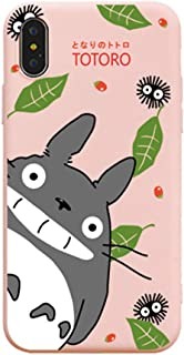for iPhone Xs Max Case, for iPhone Xs Max Cover, Cute Cartoon Anime My Neighbor Totoro Full-Print Soft Case Cover for iPhone Xs Max XR 6S 7 8 Plus (Pink, for iPhone 7 Plus/8 Plus)