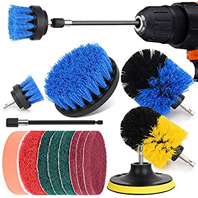Power Brush Drill Attachment Set, NUOSEM Kitchen Cleaning Drill Brushes - 14pcs Drill Brush Attachment for Bathroom Surface, Tub, Shower, Floor, Tile, Corners, Scrub/Grout Brush Drill Attachment