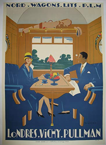 Sncf Wagon Bett London Vichy Pullman Poster Reproduktion – Format 50 x 70 cm Papier 300 g – Verkauf der digitalen Datei HD möglich