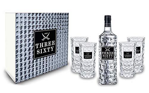 Three Sixty Set Geschenkset Geschenk Box - Three Sixty Vodka Wodka 0,7L 700ml (37,5{94619cf1686c82942fb6d20a04998269305cb7f8c3ba14f160c6a30e48ef3d00} Vol) + 4x Gläser eckig Longdrink Glas 300ml Fassung Kristall Glas - [Enthält Sulfite]