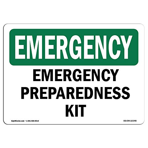 OSHA Emergency Sign - Preparedness Kit | Vinyl Label Decal | Protect Your Business, Construction Site, Warehouse & Shop Area | Made in The USA