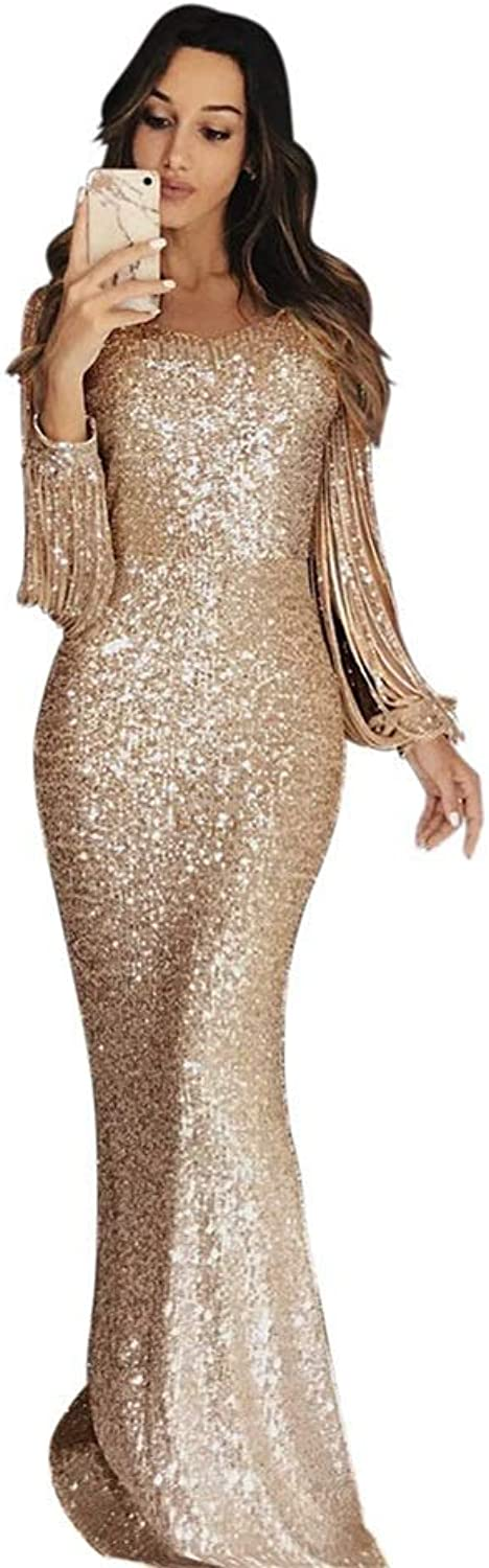 Sequin Tassel Long Dresses Party Night Sexy Women Cocktail Flapper Dress (color   Champagne, Size   XL)