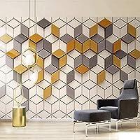 写真の壁紙モダンなシンプルな3Dステレオ黄色のモザイク幾何学模様壁画リビングルームダイニングルーム抽象芸術壁画,300(W)*210(H)Cm
