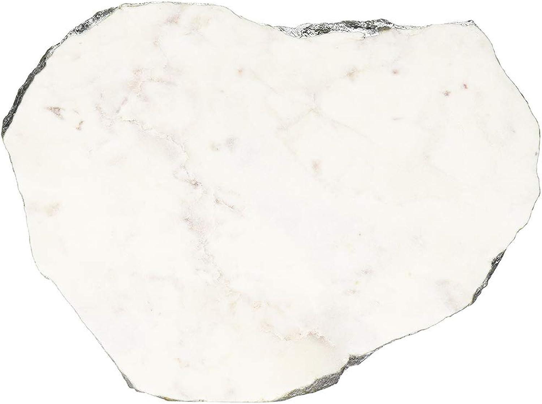 Jodhpuri Inc. 65111 Jodhpuri Irregular Marble White w Silver Foil 13-16  platters, One Size,