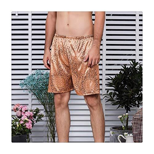 Pantalones de pijama de seda para hombre, para primavera y verano, informales, para el hogar, pantalones cortos, pantalones cortos, pijama para hombre, (color: 1, tamaño: XL)