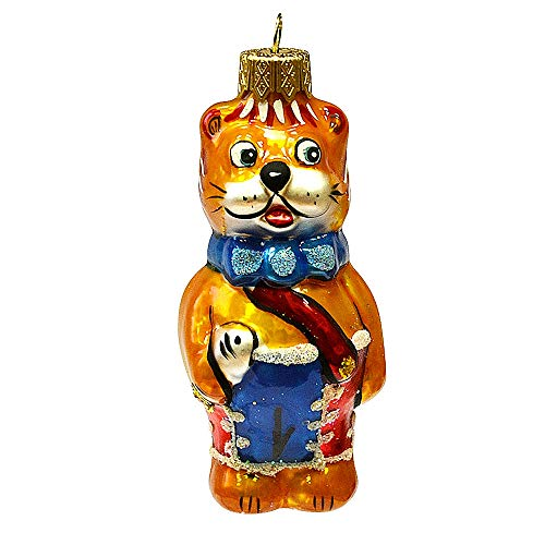 Books.And.More Hanging Ornaments for Christmas 4.3-inch Hand-Painted Well-Dressed Cat Glass Christmas Ornament Christmas Tree Decor