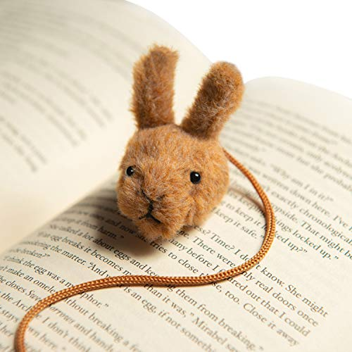 Fluffie Mark's Bunny Bookmark – A Cute & Unique Plush Animal String Bookmark - Wooden Gift Box Included - A Fun, Cool Yet Personalized Bookmark for Kids, Girls, Boys, Women and Book Lovers