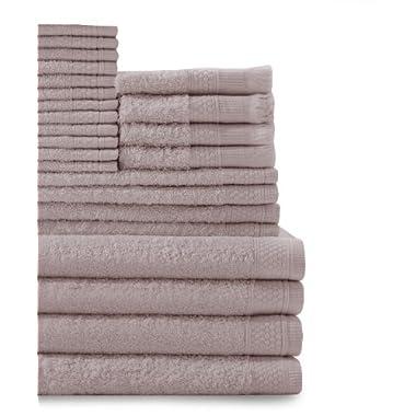 Baltic Linen Company Multi Count 100-Percent Cotton Complete 24-Piece Towel Set, Rose Dust