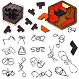 18 Pieces Brain Teaser Puzzles Hexagon Tangram Puzzle IQ Test Game Metal Wire Puzzles 3D Unfasten Interlocking Puzzle Games for Adults Teens