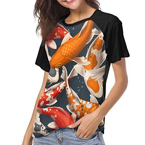 Ygoner Women's Short Sleeve T-Shirt Koi Carps Japan Women's Personalized Baseball Raglan Short Sleeves T Shirt
