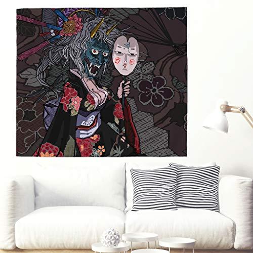 Tapiz tradicional japonés para niña con máscara de Oni, mural sexy, chica, kimono, sakura, flores, folklore, pared colgante, tapicería, salón, dormitorio, pared 150 x 130 cm blanco