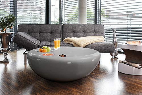 SalesFever Couch-Tisch grau Hochglanz rund aus Fiberglas Durchmesser 100 cm | Trisk | Super-Stylischer Wohnzimmer-Tisch im Retro-Design Glas 100 cm x 38 cm