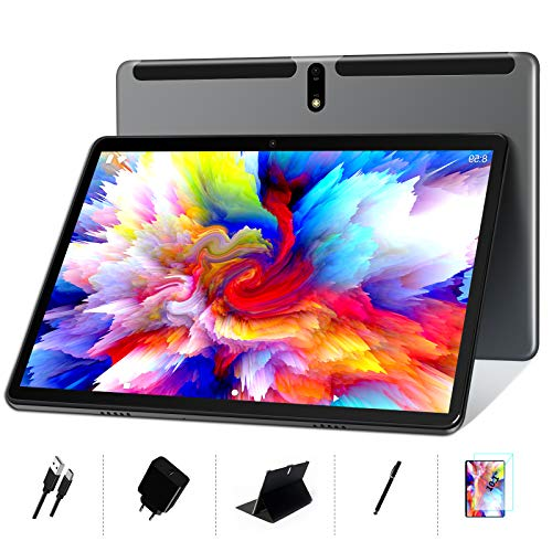 MEBERRY Tablet 10 Pollici Android 10 OS: Octa-Core 1.6 GHz Tablets PC 4GB + 64GB, Supporto DAD| Espansione 128 GB | Doppia Fotocamera(5MP+8MP) | 8000mAh| WiFi| GPS| Google GMS, Grigio (Versione WIFI)