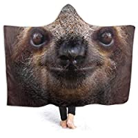 """Hoodie Blanket Sloth Face Hooded Throw Wrap Cape Cloak Bathrobe Teenager Windproof Couch Bed Shawl Flannel with Sleeves,80""""x60"""""""