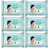 New Epielle Assorted Makeup Remover Pre-Moistened Facial Cleansing Wipes Towelettes (Oil free and hypoallergenic) - 30ct (Sheets) per pack, Aloe Vera 6 Pack
