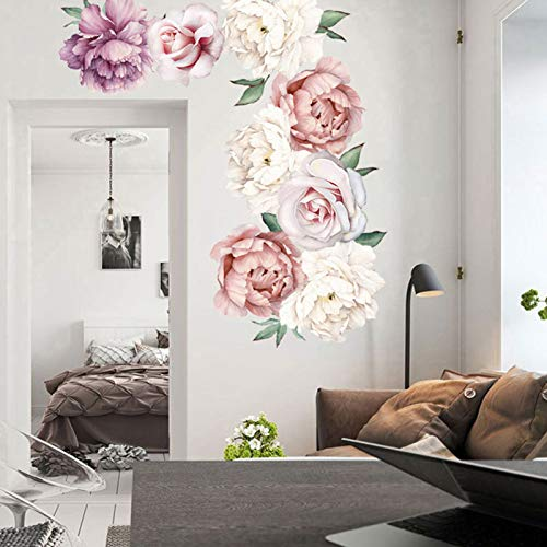 Peony Wall Decals Watercolor Flowers Wall Stickers for Living Room, Peonies Floral Art Applique Peel and Stick Blossom Wall Decor Posters for Bedroom Girls Room