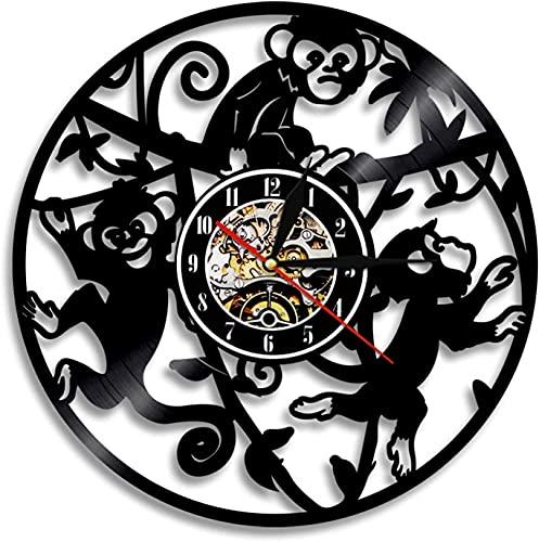 YDHNB Reloj de Pared de Vinilo Animales Mono Vintage Reloj de Pared con Registro de Vinilo De Estilo Retro 3D Reloj de Pared LED Luminoso Creativo Reloj De Habitación para Niños,Senza led