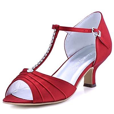 ElegantPark EL-035 Women Peep Toe T-Strap Pumps Mid Heel Rhinestones Satin Evening Wedding Bridal Sandals