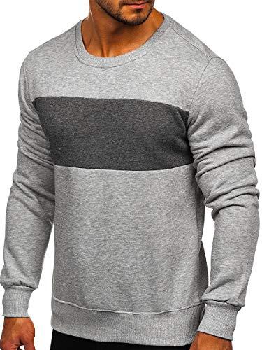 BOLF Hombre Sudadera Cerrada sin Capucha Pulóver Suéter Jersey Deporte Fitness Outdoor Básico Estilo Casual J.Style 2022 Gris-Grafito L (1A1)