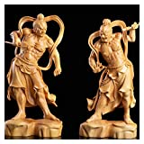 BFBZ Boxwood 20 cm mariscales Heng ha Puerta Dios Escultura Madera Buda Estatua Chino Feng Shui Madera decoración 210310 (Color : AB)