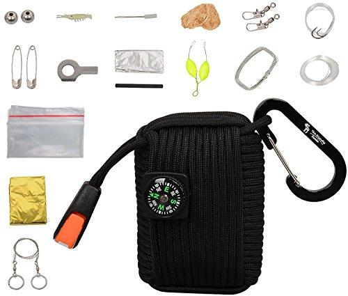 Titolo: The Friendly Swede Kit di Sopravvivenza Multiuso con 20 Accessori Inclusi fra cui Coperta di Sopravvivenza e Sega a Filo Avvolti in Corda Multifunzione 4-in-1 da 250 kg (550 lb) - GARANZIA A VITA