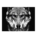 ZYHFBHFBH Cuadro en Lienzo Arte en Blanco y Negro Arte de la Pared Animal Carteles e impresión Lobo Imagen de decoración Moderna para Sala de Estar 50x70cm (19.7'x27.6) x2 Sin Marco