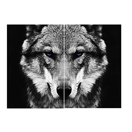 "ZYHFBHFBH Cuadro en Lienzo Arte en Blanco y Negro Arte de la Pared Animal Carteles e impresión Lobo Imagen de decoración Moderna para Sala de Estar 50x70cm (19.7""x27.6) x2 Sin Marco"