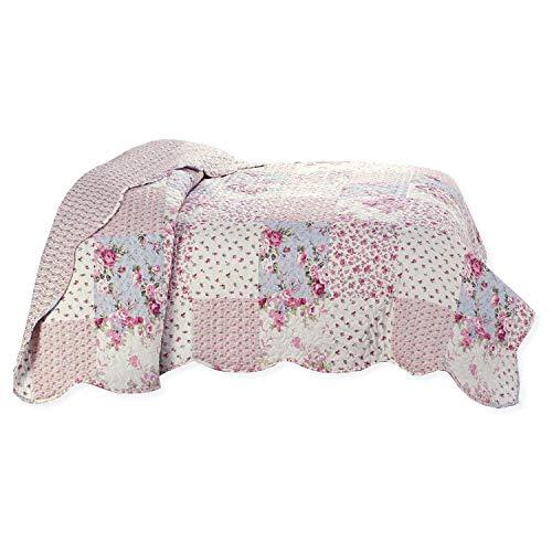Delindo Lifestyle® Colcha de patchwork, diseño de rosas en estilo rústico, 140 x 210 cm