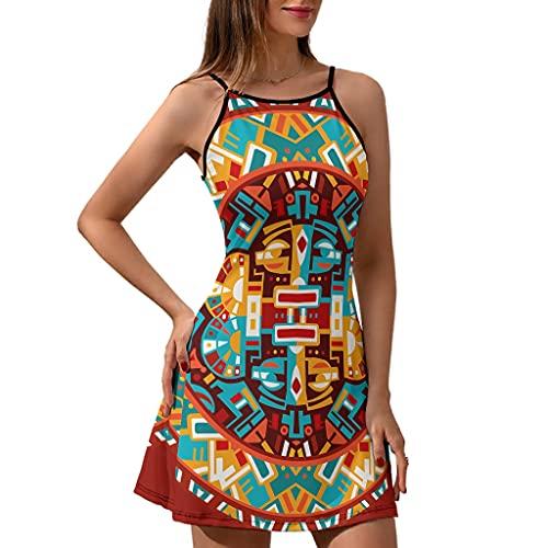 Chicici Fashion Vestido de verano para mujer con cuello redondo maya, elegante vestido sin mangas