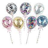 Amosfun globos de confeti toppers de la torta mini globos de látex transparentes decoraciones de la torta postre pastel selecciones para cumpleaños día de san valentín fiesta de navidad 7pcs