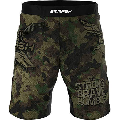 SMMASH Combat 3.0 Deporte Profesionalmente Pantalones Cortos MMA para Hombre, Shorts MMA, BJJ, Grappling, Krav Maga, Material Transpirable y Antibacteriano, (L)