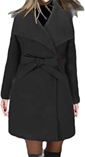 Womens Casual Lapel Warm Solid Color with Pocket Belt Blend Pea Coat