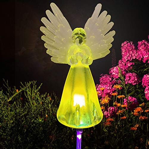 Angel Landscape Path Lights Angel Solar Lights Outdoor Grave Decorations for Cemetery Garden Gifts for mom Garden Decorations Garden Gift Memorial Stones for Loved Ones Grandma Birthday Gifts