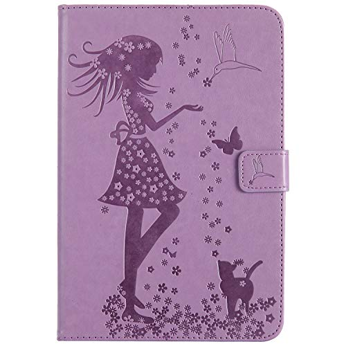 Samtlan Tablet Case Cover With Stylus Pen Holder Shockproof TPU Bumper Magnetic Clasp Woman and Cat Embossed Kickstand Function Compatible with iPad Mini 4