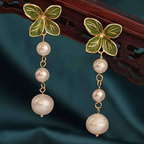 SALAN Moda Perla De Agua Dulce Vintage Colores Verdes Pendientes De Flores Pendientes De Piedras Naturales Joyería Étnica para Mujeres