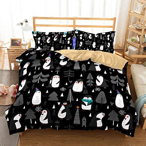 Stillshine Parures de lit Sets de Housses de couettes Pingouin Antarctique Glace et Neige Coloré Ensemble de literie 200x200 Housse de Couette + Taie d'oreiller