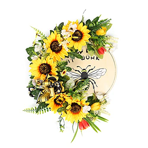 SMLJFO 2PC Artificial Sunflower Wreath for Front Door Fake Flowers Simulation Flower Wreath with RibbonSunflower Garland Wall Hangings Ornaments Wedding Decoration
