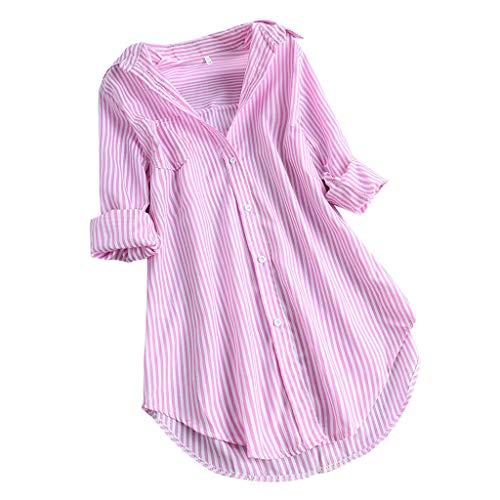LOPILY Gestreifte Bluse Damen Verstellbare Ärmel Shirts aus Baumwolle V-Ausschnitt Oberteile Freizeit Tunika für Mollige Arbeitsbluse 46 Lässige Lose Tshirts Long Shirts Damen Herbst (Rosa, 42)