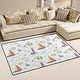 SunsetTrip - Alfombra de ancla náutica para sala de estar, dormitorio, antideslizante, moderna, suave, lavable, 78,7 x 50,8 cm