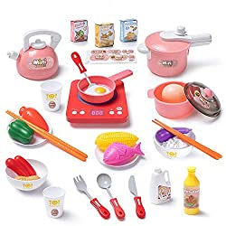 Czemo Kinderküche Küchenspielzeug Zubehör Vorgeben Küche Kochen Spielzeug Set simuliertinde Induktion Herd, Töpfe, Pfannen, Utensilien, Kochgeschirr Playset, Pädagogisches Spielzeug