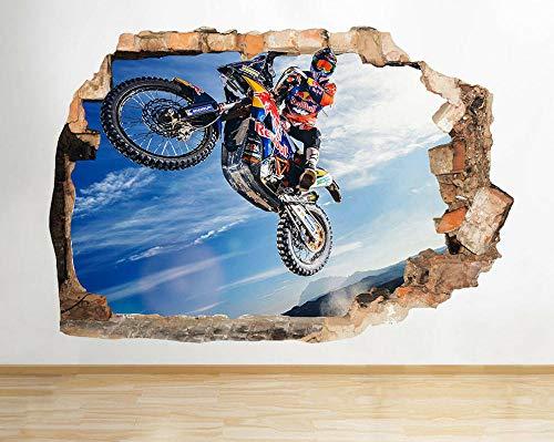 Pegatinas de pared - 3D- Motocicleta Stunt Jump r Adhesivos de pared Habitación infantil