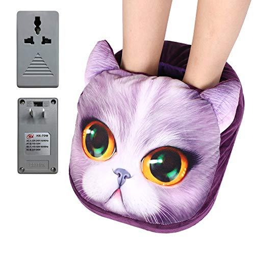 Soft Plush Foot Warmer Heating Pad Slippers for Home Office School Detachable Washable Warm Feet Treasure Foot Warm Pad Women Men Cartoon Eletric Foot Heated Pad Shoes Boots for Stiff Cold Feet