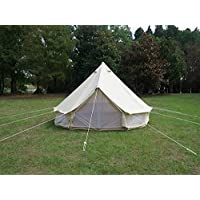 Beige Cotton Canvas, Waterproof PU Coating Bell Tent yurt Tent with a Zipper for Family Camping or Extended Camping Trip reconstruct Houses 18