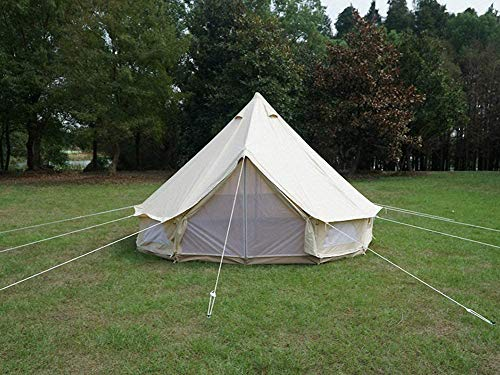 Beige Cotton Canvas, Waterproof PU Coating Bell Tent yurt Tent with a Zipper for Family Camping or Extended Camping Trip reconstruct Houses 1